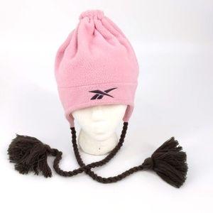 Reebok Pink Gray Fleece Beanie Hat Cap One Size